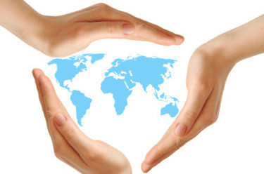 World map surrounded by hands - Who We Serve - HiConnect